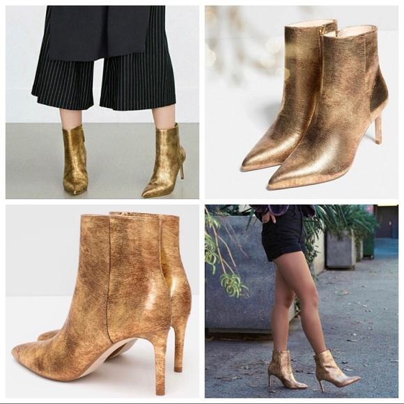4fb1f1f63 Zara Zapatos Oro Authentic Authentic Authentic Leather High Heel Ankle Botas  Poshmark b2c9bb. Zapatos de mujer ...